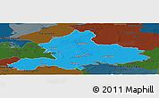 Political Panoramic Map of Gelderland, darken