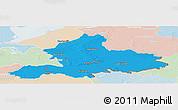 Political Panoramic Map of Gelderland, lighten
