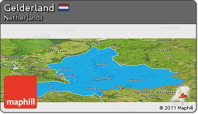 Political Panoramic Map of Gelderland, satellite outside