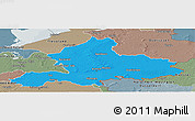Political Panoramic Map of Gelderland, semi-desaturated