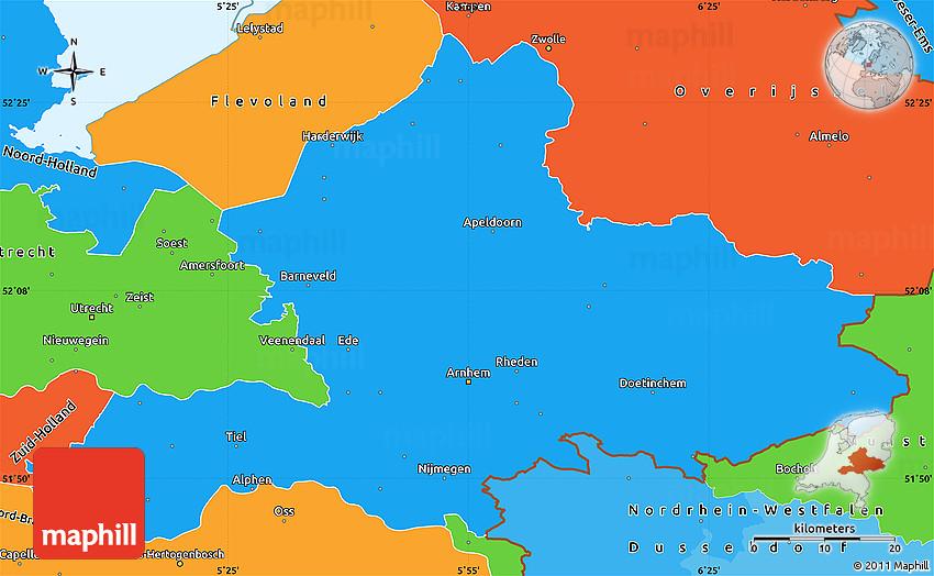 political simple map of gelderland