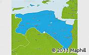 Political 3D Map of Groningen, physical outside