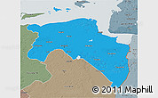 Political 3D Map of Groningen, semi-desaturated