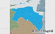 Political Map of Groningen, semi-desaturated