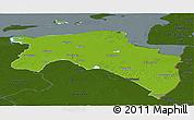 Physical Panoramic Map of Groningen, darken