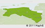 Physical Panoramic Map of Groningen, lighten