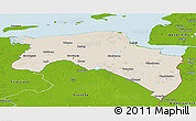 Shaded Relief Panoramic Map of Groningen, physical outside