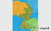 Satellite 3D Map of Limburg, political outside