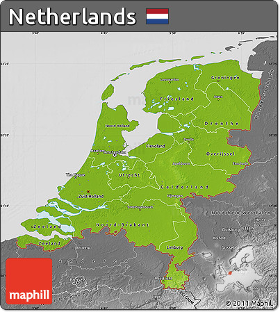 Free Physical Map of Netherlands desaturated