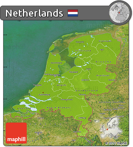 Free Physical Map of Netherlands satellite outside