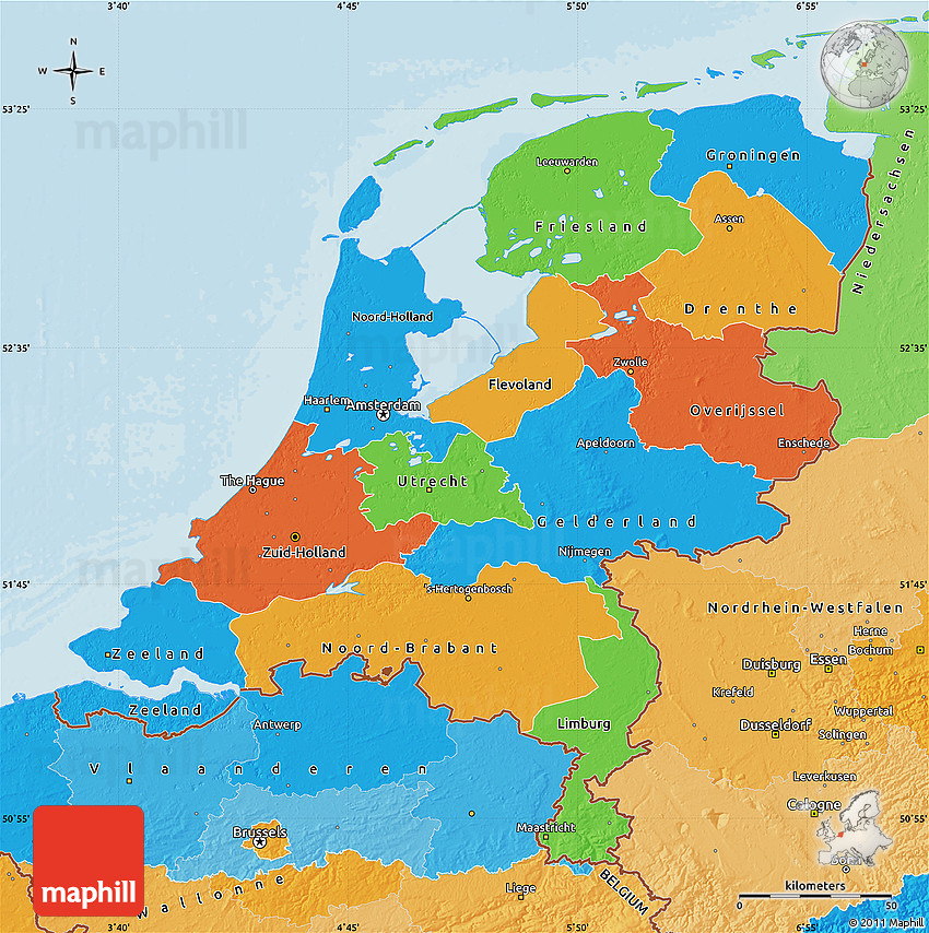 Political Map Of Herlands: Netherlands Topographic Map At Infoasik.co