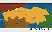 Political 3D Map of Noord-Brabant, darken