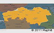 Political 3D Map of Noord-Brabant, darken, semi-desaturated