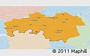 Political 3D Map of Noord-Brabant, lighten