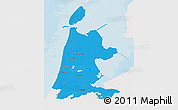 Political 3D Map of Noord-Holland, single color outside