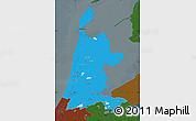 Political Map of Noord-Holland, darken