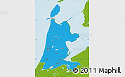 Political Map of Noord-Holland, physical outside