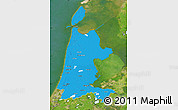 Political Map of Noord-Holland, satellite outside