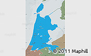 Political Map of Noord-Holland, semi-desaturated