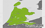 Physical Panoramic Map of Noord-Holland, desaturated