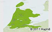 Physical Panoramic Map of Noord-Holland, lighten