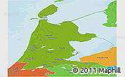 Physical Panoramic Map of Noord-Holland, political outside