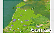Physical Panoramic Map of Noord-Holland, satellite outside