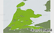 Physical Panoramic Map of Noord-Holland, semi-desaturated