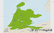 Physical Panoramic Map of Noord-Holland, shaded relief outside
