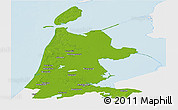 Physical Panoramic Map of Noord-Holland, single color outside