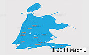 Political Panoramic Map of Noord-Holland, cropped outside