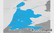 Political Panoramic Map of Noord-Holland, desaturated