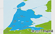 Political Panoramic Map of Noord-Holland, physical outside