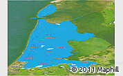 Political Panoramic Map of Noord-Holland, satellite outside