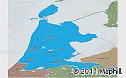 Political Panoramic Map of Noord-Holland, semi-desaturated