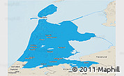 Political Panoramic Map of Noord-Holland, shaded relief outside