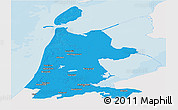 Political Panoramic Map of Noord-Holland, single color outside