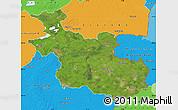 Satellite Map of Overijssel, political outside