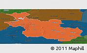 Political Panoramic Map of Overijssel, darken