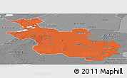 Political Panoramic Map of Overijssel, desaturated