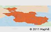 Political Panoramic Map of Overijssel, lighten