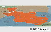 Political Panoramic Map of Overijssel, semi-desaturated