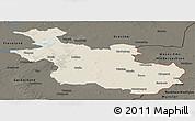Shaded Relief Panoramic Map of Overijssel, darken