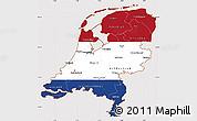 Flag Simple Map of Netherlands, flag centered