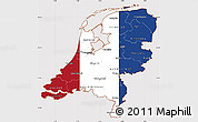 Flag Simple Map of Netherlands, flag aligned to the middle