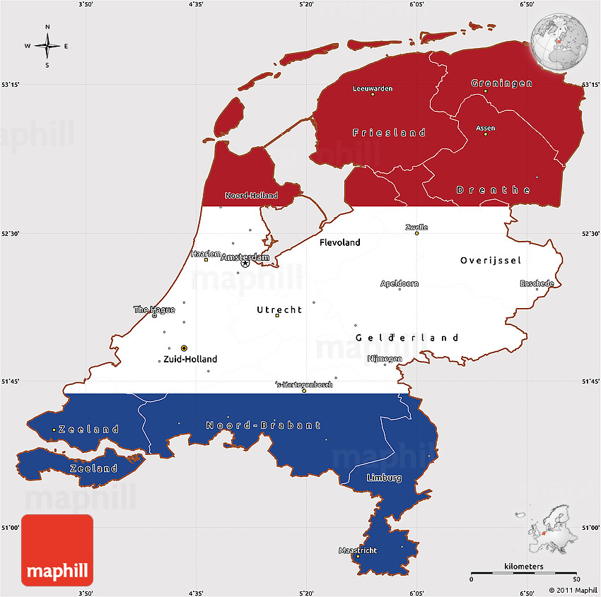 Flag Simple Map of Netherlands