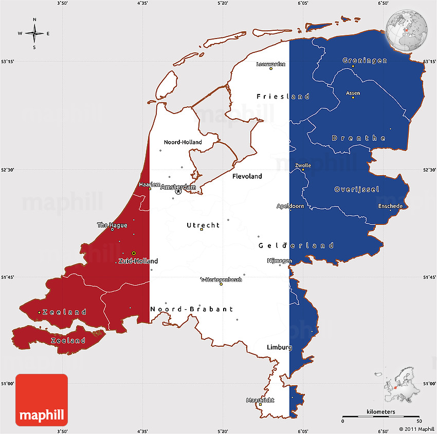 Flag Simple Map of Netherlands, flag rotated