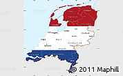 Flag Simple Map of Netherlands, single color outside, flag centered