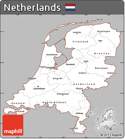 free gray simple map of netherlands cropped outside