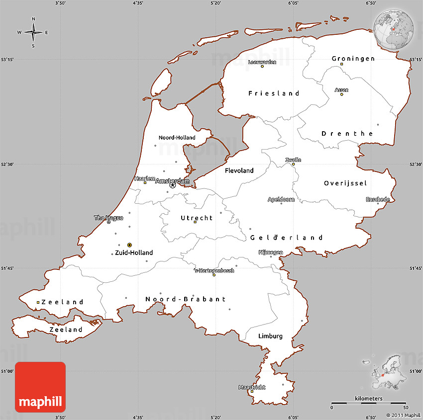 Simple Site Map: Gray Simple Map Of Netherlands, Cropped Outside
